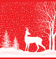 snow winter landscape deer merry christmas card vector image