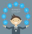 Flat design concept of businessman management or vector image