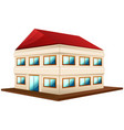 3d design for wide building with red roof vector image