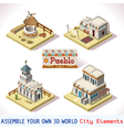 Pueblo Tiles 02 Set Isometric vector image