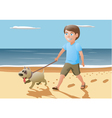 boy and dog walking on vector image