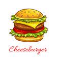 cheeseburger fast food burger icon vector image
