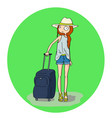 pretty girl with luggage in the airport or railway vector image