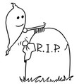 rcartoon of ghost cleaning up the tombstone grave vector image