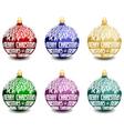 set of six christmas balls vector image