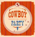 cowboy party western card background with guns vector image vector image