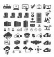 big data icons set vector image