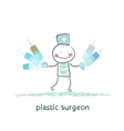 plastic surgeon holding syringe and stands next to vector image vector image