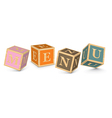 Word MENU written with alphabet blocks vector image vector image