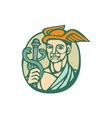 Hermes Holding Cadaceus Woodcut Linocut vector image