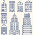Set of linear elements and icons with buildings vector image vector image