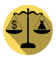 dress and dollar symbol on scales flat vector image