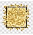 Golden randomly scattered stripes with black frame vector image