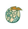 Hermes Holding Cadaceus Woodcut Linocut vector image