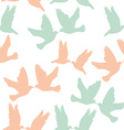 Pair of pigeons on a white background Seamless vector image