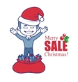 Promotional banner with Santa Claus boy and bag of vector image