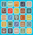 School line icons on blue background vector image