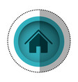 blue round symbol house with roof and door icon vector image