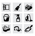 black cleaning icons set on gray vector image