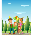 A family at the street vector image