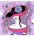 Lady in hat with flower - vector image vector image