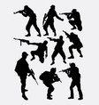 Army soldier pose with gun weapon silhouette vector image