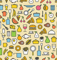 Kitchen tools and meal silhouette icons Seamless vector image