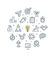 Brainstorming Round Design Template Thin Line Icon vector image