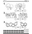 calculating maths activity coloring page vector image