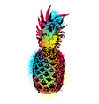 Colorful pineapple fruit art design for summer vector image