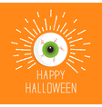 Eyeball with shine lines Happy Halloween card Flat vector image