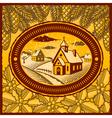 Retro winter village vector image