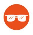 round icon sunglasses cartoon vector image