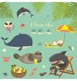 set of cute sea animals on resort vector image