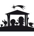 christmas nativity silhouette vector image