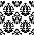 Black and white floral damask pattern vector image