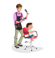 children barber with little boy vector image
