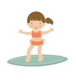 Cute little girl surfing vector image