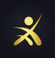 People success sport leader gold logo vector image