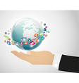 Person holding globe on the hand vector image