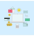 Set of flat thin line icons E-commerce or payment vector image