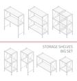 Storage shelves big set vector image