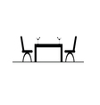 table with two chair and drink vector image