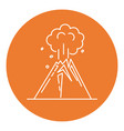 volcano eruption icon in thin line style vector image