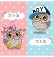 Owls boy and girl vector image