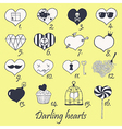 Set of stylized hand drawn hearts vector image