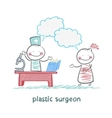plastic surgeon t work talking to a patient vector image