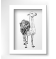 artwork lama digital sketch of animal realistic vector image