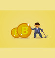 bitcoin mining concept asian man in traditional vector image
