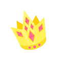 golden princess crown with pink rubies accessory vector image